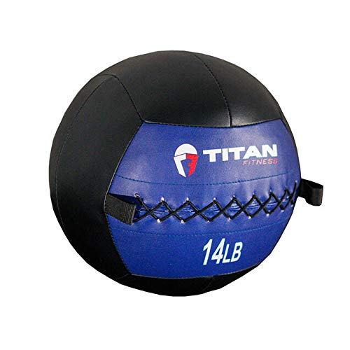 Titan Fitness 14 lb. Soft Shell Medicine Wall Ball with Leather Non-Slip Grip for Throwing, Core Strength