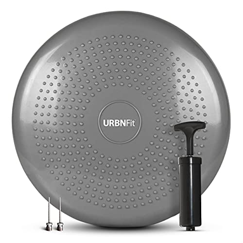 Balance Disc-Stability Wobble Cushion-Lumbar Support For Desk and Office Chair, Lower Back Pain Relief and Support-Kid's Wiggle Seat For Classrooms-Home Gym Workout Equipment - Pump Included (Silver)