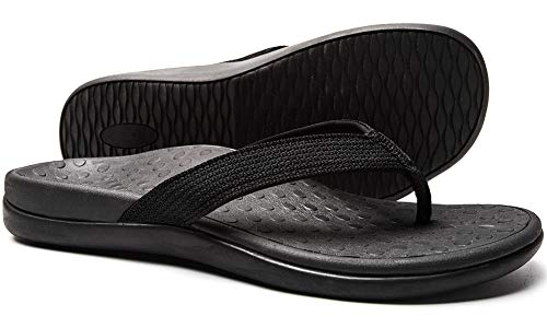 Plantar Fasciitis Feet Sandal with Arch Support - Best Orthotic flip Flops for Flat Feet,Heel Pain- for Women (9 M US, Black)
