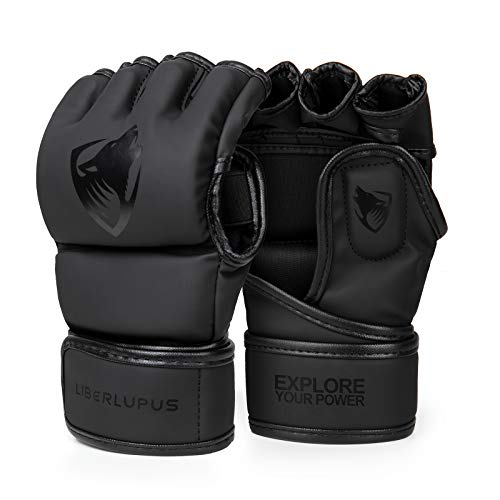 Liberlupus MMA Gloves, UFC Boxing Fight Gloves MMA Mitts with Adjustable Wrist Band for Sanda Sparring Punching Bag Training (Black, S/M)