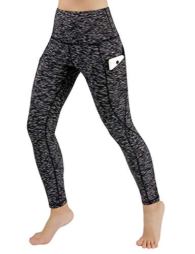 ODODOS Women's High Waist Yoga Pants with Pockets,Tummy Control,Workout Pants Running 4 Way Stretch Yoga Leggings with Pockets,SpaceDyeMattBlack,X-Small