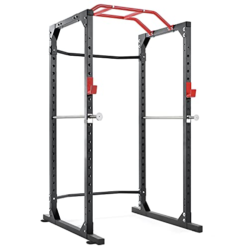 Power Cage Squat Rack Cage with 2021 Upgraded Galvanized Safety Bar, 19-Level Adjustable with J-Hooks Heavy Duty for 1000lbs Capacity Olympic for Barbell Lifting, Squat Stand, Push ups, Pull ups