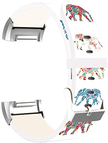 Charge 3 Bands Leather - ENDIY Strap Replacement Compatible with Fitbit Charge 3 / Charge 3 SE/Charge 4 2020 Small & Large Silver Women Men - Flower Colorful Cute Elephant Animal Design