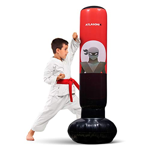 """Inflatable Kids Punching Bag – Free Standing Ninja Boxing Bag for Immediate Bounce-Back for Practicing Karate, Taekwondo, MMA and to Relieve Pent Up Energy in Kids and Youth / Tall 5' 3"""""""