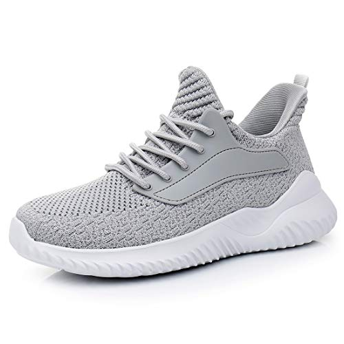IPETSUN Women's Grey Athletic Walking Shoes - Slip On Memory Foam Lightweight Breathable Mesh Running Sneakers for Gym Travel Work 8 US Grey