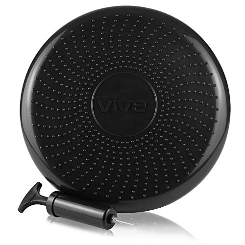 Vive Wobble Cushion - Inflatable Balance Disc Seat - Fitness Core Stability Trainer Wiggle Pad for Office Chair, Rehab, Isokinetics, PT - Kids Adult Workout Sensory Seat Equipmentwith Exercise Book