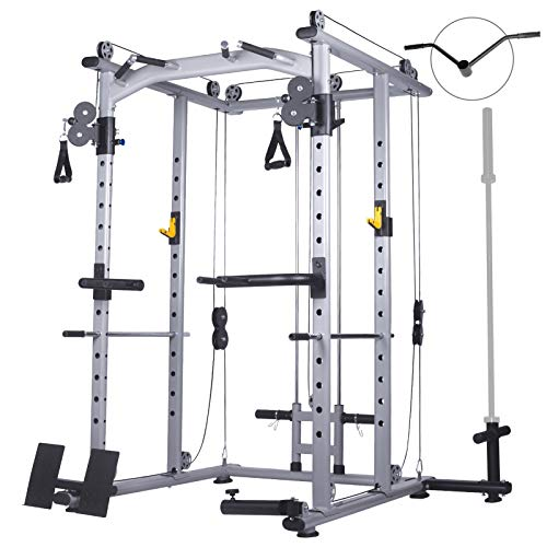 Mikolo Multi-Function Power Cage, 1400 lbs Commercial Weight Cage with Cable Crossover Machine, J-Hooks, Landmine, T-Bar, Dip Bars, Barbell Holder, and Other Attachments