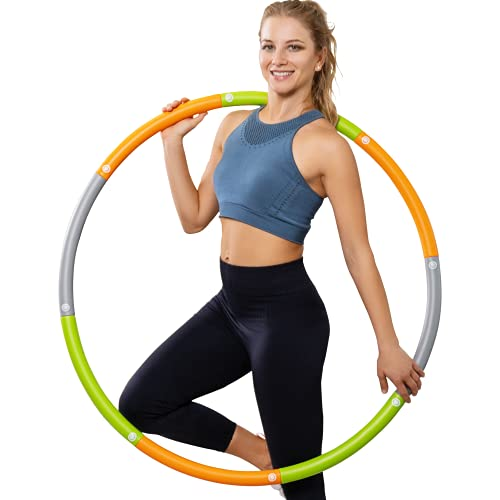Dynamis Fat Burning Weighted Hula Hoop for Adults, Adjustable Soft Fitness Hoola Ring for Weight Loss, Burning Calories, Core Workout Exercise, Sports Training, Indoor Outdoor (3.6 pounds)