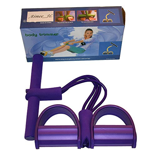 AIMMEE-JL 4-Tube Elastic Sit Up Pull Rope with Foot Pedal Abdominal Exerciser Equipment Fitness Yoga (Purple)