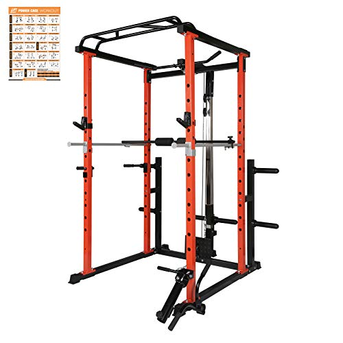 RitFit Power Cage with LAT Pull Down and 360° Landmine, 1000LB Capacity Power Rack Full Home Gym for Weightlifting, Come with J-Cups,Dip Bars and Other Attachments (Upgraded Version)