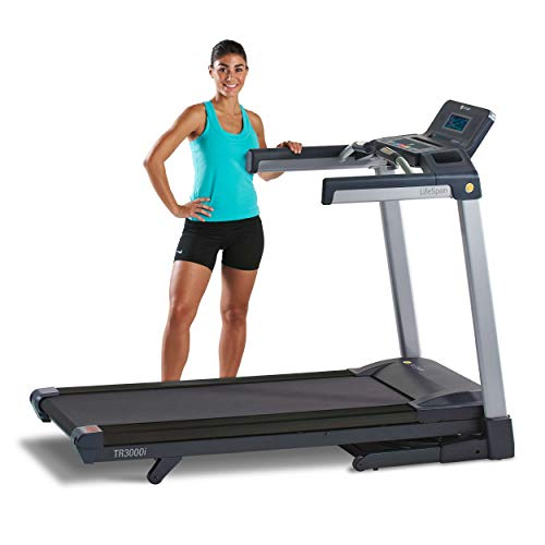 LifeSpan Fitness TR3000i Folding Treadmill with 7' full-color display, 2.75HP Whisper-quiet motor, Built-in Bluetooth speakers, USB Charger, Heart rate sensors, Supports up to 350lbs,Gray/Black,TR3000i-Touch