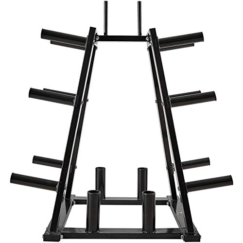 papababe Weight Plate Storage Rack, Multifunctional Weight Plate Tree, Combo Weight Storage Rack for 2 inch Weight Plates and Olympic Barbell