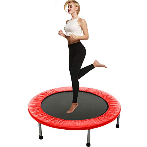 Balanu Mini Exercise Trampoline for Adults or Kids - Indoor Fitness Rebounder Trampoline with Safety Pad | Max. Load 200LBS (Red)