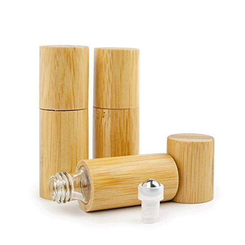 Grand Parfums 5ml Natural Bamboo Essential Oil Roller Bottles Roll On,Clear Glass Inner/Portable Massage Stainless Steel Roller Ball Vial Aromatherapy Travel Perfumes Bottle (6 Bottles)