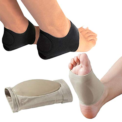 MEDIZED® Plantar Fasciitis Therapy Wrap Heel Foot Pain Arch Support Ankle Brace Insole Orthotic … (Beige Arch Sleeve and Black Heel Wrap)