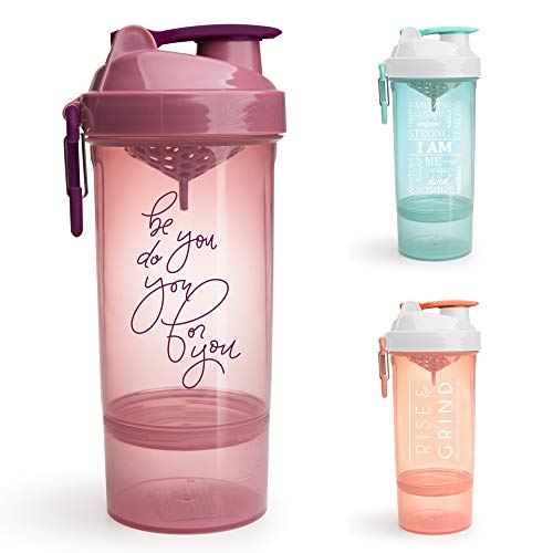 SmartShake Shaker Bottle with Motivational Quotes, Original2Go ONE 27oz Protein Shaker Cup, Container Storage for Protein, Supplements, Perfect Gym Fitness Gift (Be You Do You - Rose)
