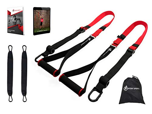 INTENT SPORTS Bodyweight Max Trainer Fitness Resistance Kit with Pro Straps for Door Pull up Bar, Anchor Point, Light, Durable for Complete Body Workouts, E-Book & 77 Workout Videos (Patent Pending)