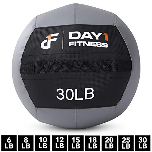 Day 1 Fitness Soft Wall Medicine Ball 30 Pounds - for Exercise, Physical Therapy, Rehab, Core Strength, Large Durable Balls for TRX, Floor Exercises, Stretching