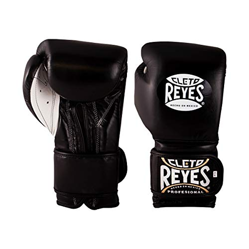 Cleto Reyes Boxing Gloves, Training Gloves with Hook and Loop Closure for Men and Women (16oz., Black)