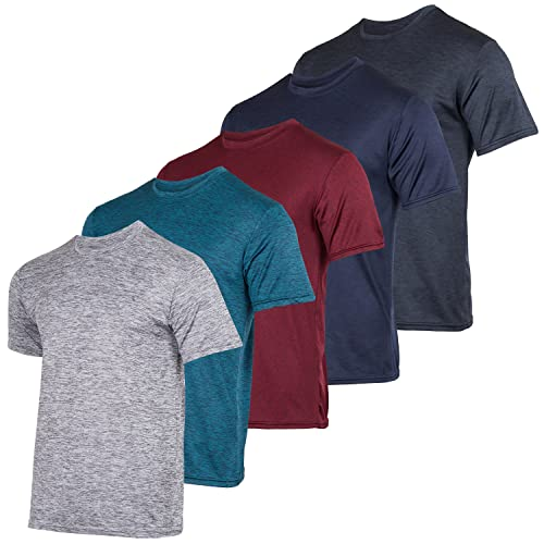 Men's Quick Dry Fit Dri-Fit Short Sleeve Active Wear Training Athletic Essentials Crew T-Shirt Fitness Gym Wicking Tee Workout Casual Sports Running Tennis Exercise Undershirt Top - 5 Pack,Set 1-XL