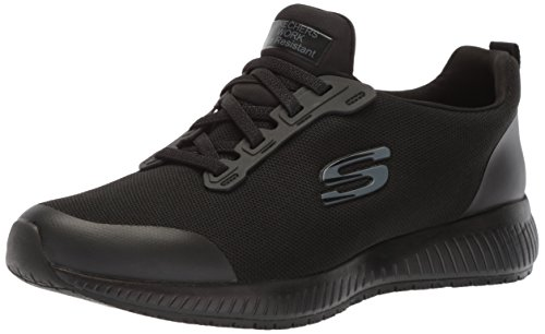 Skechers for Work Women's Squad SR Food Service Shoe, black flat knit, 8 M US