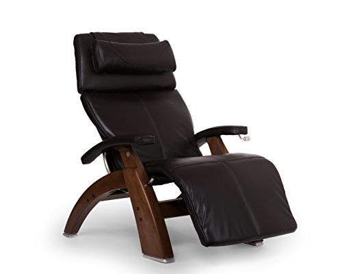 Human Touch Perfect Chair 'PC-420' Premium Full Grain Leather Hand-Crafted Zero-Gravity Walnut Manual Recliner, Espresso