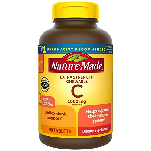 Nature Made Extra Strength Vitamin C Chewable 1000mg, for Immune Support, Antioxidant Support, Supports Iron Absorption and Collagen Synthesis for Skin Health, 90 Count