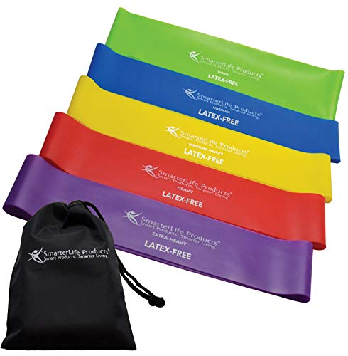 Exercise Bands for Working Out Arms, Legs and Butt – Non-Latex Resistance Bands Set for Women, Men – Physical Therapy, Fitness - 5 Extra Wide Bands of Increasing Resistance - Premium Workout Guide