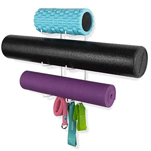 Wallniture Guru Wall Mount Yoga Mat Home Gym Equipment Resistance Bands and Foam Roller Holder with 3 Hooks 3 Sectional Metal White