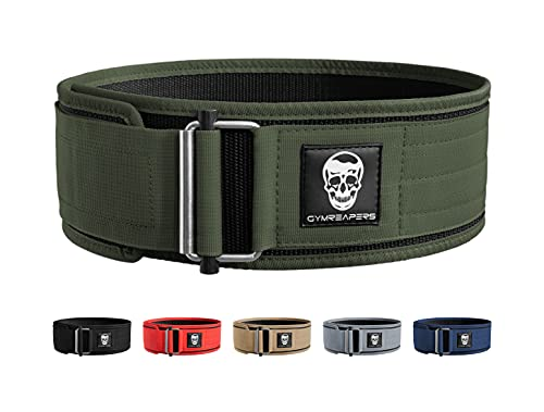 Gymreapers Quick Locking Weightlifting Belt for Bodybuilding, Powerlifting, Cross Training - 4 Inch Neoprene with Metal Buckle - Adjustable Olympic Lifting Back Support (Ranger Green, Medium)
