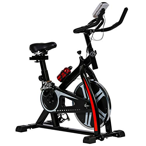 HCB Exercise Bike Indoor Cycling Bike Stationary Bike with Adjustable Seat and Resistance, Comfortable Seat Cushion Cycle Bike for Home Cardio Workout (Black)