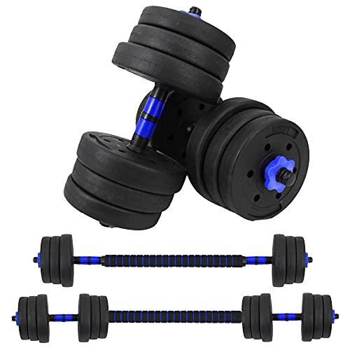 VIVITORY Weights Dumbbells Set, Dumbbell Barbell Quick Conversion with Connecting Rod, Adjustable Dumbbell Set, Barbells Weights for Exercises, Dumbbells Weights Set for Home Gym, Up to 44 lbs
