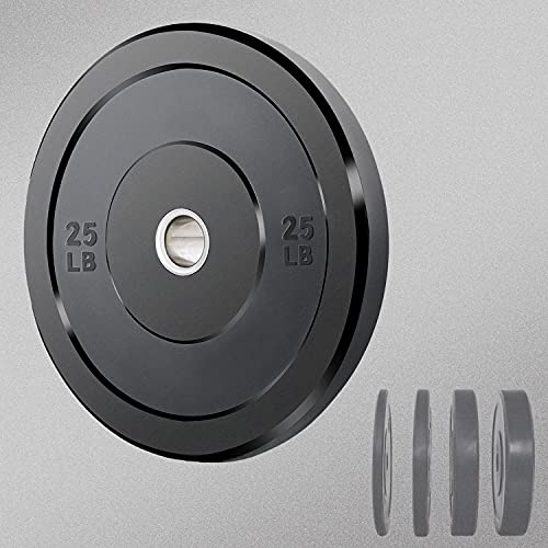 Bumper Plates, 2 Inch Olympic Weight Plates Standard Grip Plate Rubber Barbell Plates Weight Plate Set Steel Insert for Strength Training and Weight Lifting at Home Gym, Black(25LB Barbell, Pair)