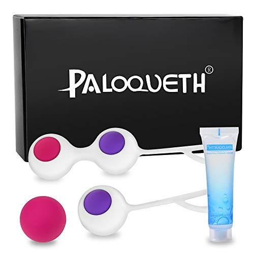 Kegel Balls Exercise Weight for Women Bladder Control & Pelvic Floor Exercises Tightening, PALOQUETH Silicone Ben Wa Balls Pelvic Weights Training Set for Beginners & Advanced Tightening