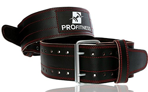 ProFitness Weight Lifting Belts for Men and Woman Leather Weightlifting Belt Comes (Black/Red, Medium)