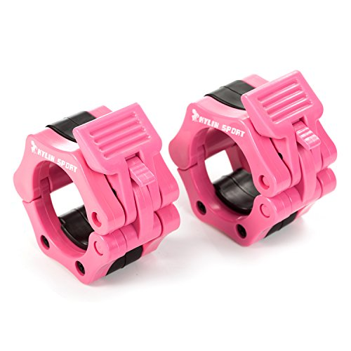 KYLIN SPORT Pair of 2' inch ABS Locking Collars Clamp Hook Grip w/Quick Release Secure Snap Latch for Standard Olympic Barbells (Pink)