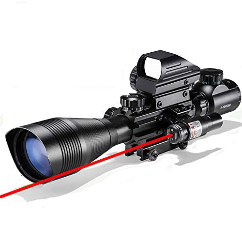 Rifle Scope Combo 4-12x50EG Dual Illuminated with Laser Sight 4 Holographic Reticle Red/Green Dot for Weaver/Rail Mount (Red Laser)