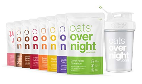 Oats Overnight - Party Pack Variety (8 Pack with BlenderBottle) High Protein, Low Sugar Breakfast - Gluten Free, Non GMO Oatmeal (2.7oz per pack)