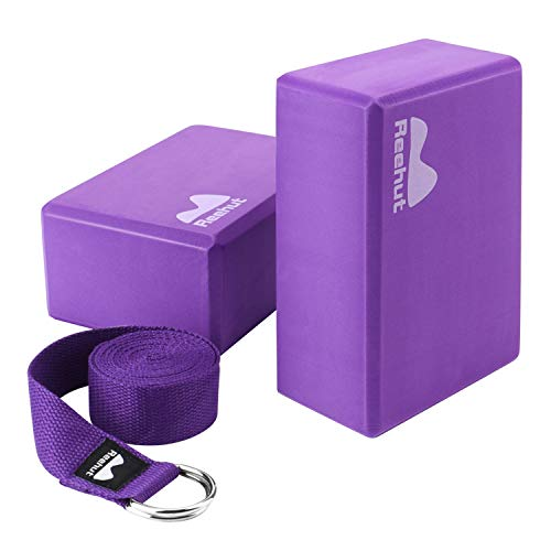 REEHUT Yoga Block 2 Pack and Metal D Ring Yoga Strap 1 Pack Combo Set, 9' x 6' x 4'High Density EVA Foam Block to Support and Deepen Poses, 8FT Yoga Belt for Stretching, General Fitness (Blue)