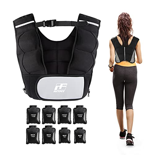 RitFit Adjustable Weighted Vest 9-20lbs for Men and Women with Removable Weights and Neoprene Fabric, Body Weight Vest for Running,Training Workout, Black