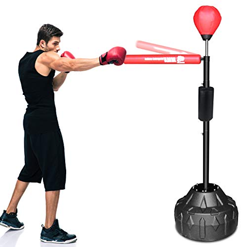INNOLIFE Boxing Equipment Free Stand Agility Training with Punching Reflex Ball and Punching Bag for Adults and Kids - Upgraded Version(Red)