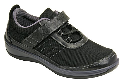 Orthofeet Proven Bunions Heel and Foot Pain Relief. Extended Widths. Best Orthopedic Diabetic Women's Shoes, Breeze Black