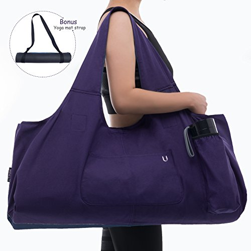 Uhawi Yoga Mat Bag Large Yoga Mat Tote Sling Carrier with 4 Pockets Fits Mats with Multi-Functional Storage Pockets Light and Durable(with Yoga Mat Carrying Strap) (Purple)