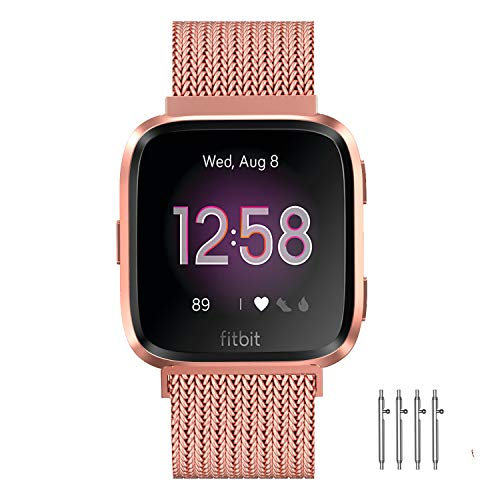 Meikeio Metal Replacement Bands Compatible Stainless Steel Metal Bracelet for Fitbit Versa/Versa Lite Edition/Versa 2 for men women 2020 (Rose Gold, Large)