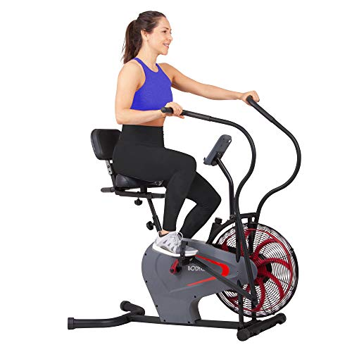 Body Rider Stationary Upright Air Resistance Fan Bike with Curve-Crank Technology and Back Support BRF980