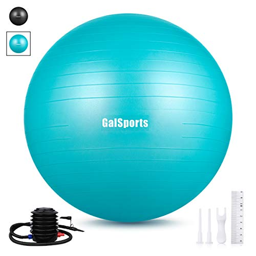 GalSports Exercise Ball (45cm-75cm), Anti-Burst Yoga Ball Chair Supports 2200lbs with Quick Pump, Stability Fitness Ball for Birthing & Core Strength Training & Physical Therapy (Turkis, S (38-45cm))
