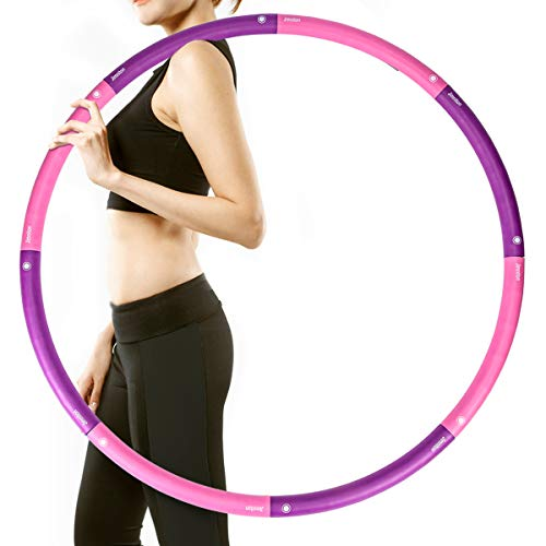 Jimniton Weighted Hula Hoop for Adults, Women, Men and Youth, Detachable & Portable & Adjustable Hoola Hoop, 2.7-3.1 lb (Pink & Purple)