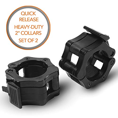 """Quick-Release Safety Collars for Olympic Barbells, 2"""" Plates by D1F, Set of 2 - Weight Locking Clips for Weightlifting Bars - Heavy-Duty 2-inch Plate Clamps for Powerlifting, Strength Training"""