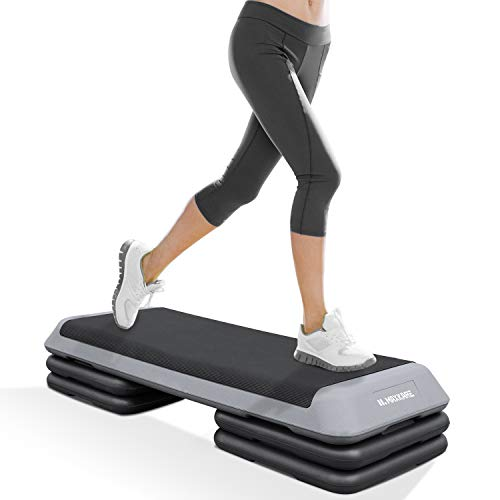 MaxKare Exercise Step Platform Adjustable Workout Aerobic Stepper with 4 risers in Fitness & Exercise for Cardio & Strength Training for Men & Women