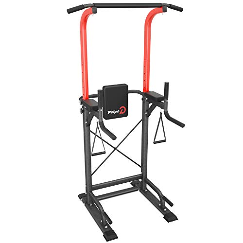 pelpo Power Tower Height Adjustable Pull Up Bar Station for Home Gym Strength Training, Multi-Function Dip Station Fitness Exercise Equipment, Black